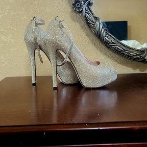 Celeste sparkling peep toe heels with ankle strap